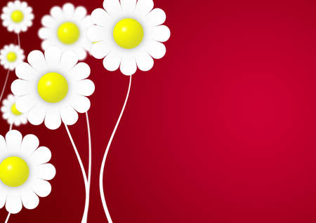 depth: Card with flowers with effect of depth (a red gradient)