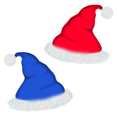 fleecy: hat Santa isolated on a white background. For an ornament of Christmas themes