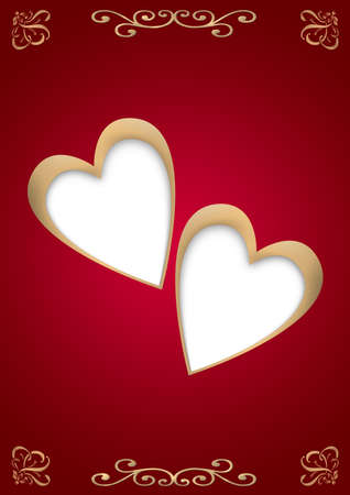 substrate: Two gold hearts with a white substrate on a stylish red background with an ornament Stock Photo