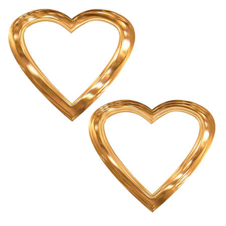chromeplated: Set of preparations as hearts- frame(volumetric, chromeplated) Stock Photo