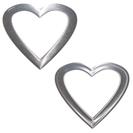 fidelity: Set of preparations as hearts- frame(volumetric, chromeplated) Stock Photo