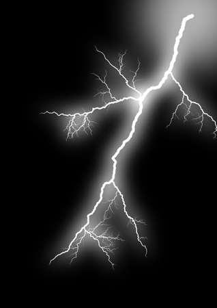 Lightning strike. Isolated black background.  photo