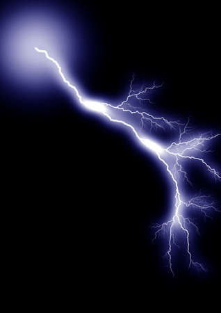 zapping: Lightning strike. Isolated black background. Stock Photo