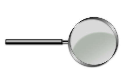 handglass: Magnifying glass with ������������ the handle (it is isolated on a white background) Stock Photo