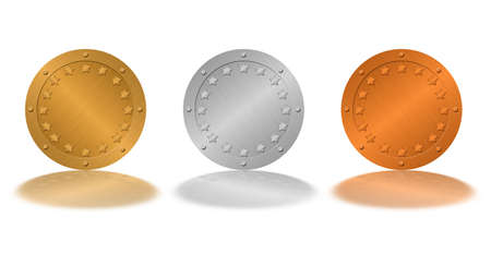 Medals (medallions) isolated on a white background. Gold, silver, bronze - with elements of stars on a circle and rivets of similar metal photo