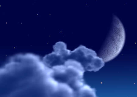 The moon in clouds (the Detailed night image of the moon) photo
