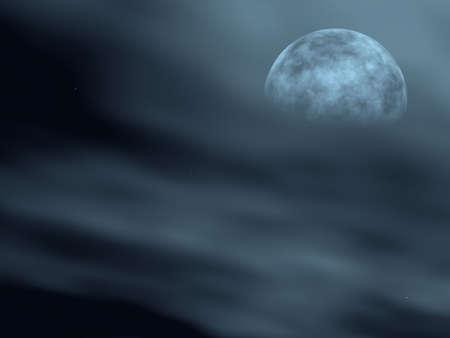 nuit hiver: La lune dans un brouillard (contour de la lune dans un brouillard) nuit d'hiver dans l'Europe centrale