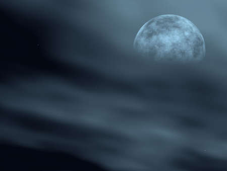 otherworldly: The moon in a fog (Outlines of the moon in a fog) winter night in the central Europe Stock Photo