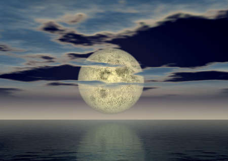 myst: The full moon above ocean covered by small clouds
