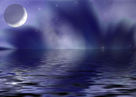 polar lights: Moonlight night with elements of the polar lights and the star sky with reflection in water