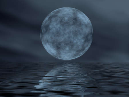 Reflection of the moon in water  (winter night in the central Europe) photo