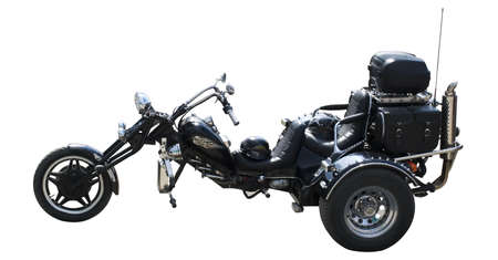 Motorcycle. The isolated image the biker of a three-wheeled motorcycle photo