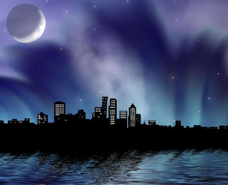 erection: Night city on a background of the moon in fantastic a smoke and reflection in water