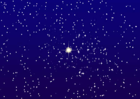 The star night sky with set shine stars and brightly allocated one star  photo