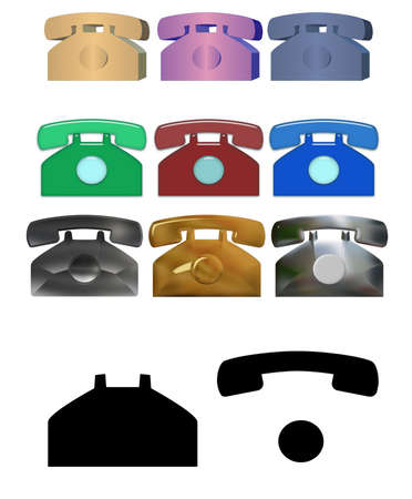 Set of images of analog phone (completely isolated on a white background) photo