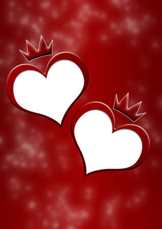 homosexual wedding: Card to the Valentines day (Two hearts on the dim background with elements of a crown) Stock Photo