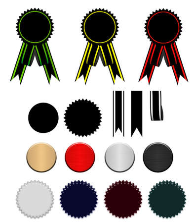 Set of ribbons and stars (with elements for the further editing)  (completely isolated on a white background)  photo