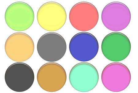 top animated: Set round color glass buttons (volumetric buttons for WEB design)