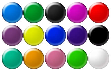 top animated: Set round glass  buttons (volumetric buttons for WEB design)