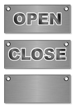 mict: Tablets (signboard) from metal with inscriptions Open and Close (a black varnish)
