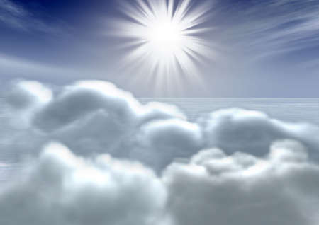 Above volumetric clouds (the top view of clouds) with the bright sun photo
