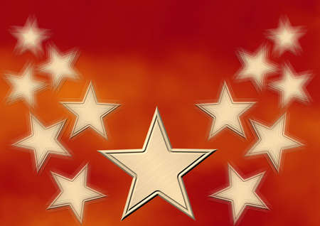 ecard: Gold stars on a red background with effect of movement Stock Photo