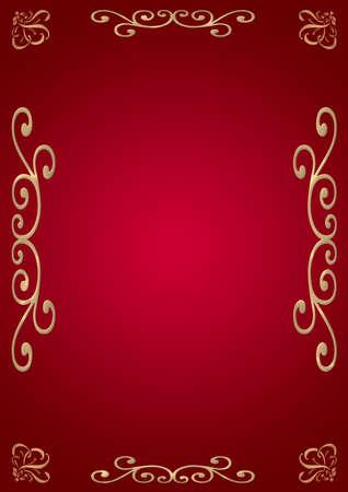ecard: Elegante sfondo (rosso con illuminazione), con un ornamento sui bordi d'oro Archivio Fotografico