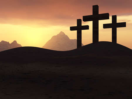 Three crosses on a hill on a background of a sunset Stock Photo