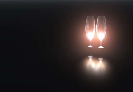 poured: Crystal wine glasses illuminated by  light (reflection on a metal surface) Stock Photo