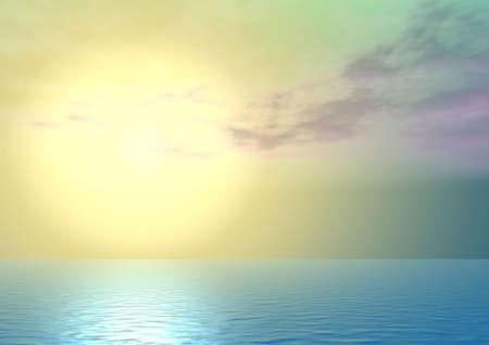Amarillo majestuosa puesta de sol por encima del océano, con una fantástica îáëêàìè sombra  Foto de archivo - 1746223