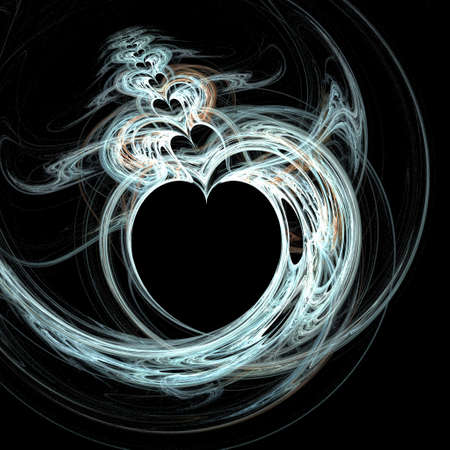 heart burn: Abstractly spiral image of heart with effect of a luminescence of lines