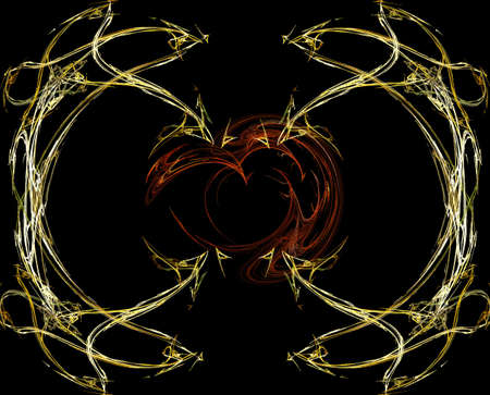 abstractly: Abstractly spiral image of with effect of a luminescence of gold lines Stock Photo