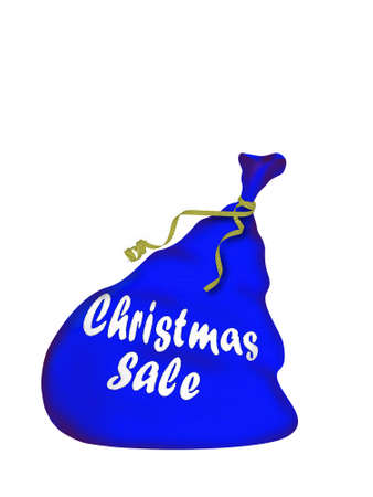 hilarity: Christmas bag Santa with gifts - with sewn inscription Christmas sale (isolated on a white background) Stock Photo