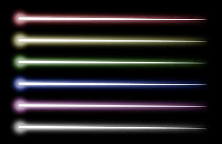 raytracing: Set of beams of various colors completely isolated on a black background Stock Photo