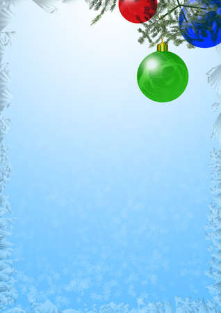 hoarfrost: Background on a theme - Christmas and New Year with decorative elements (fool size A4) Stock Photo