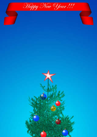 Background on a theme - Christmas and New Year with decorative elements (fool size A4) photo
