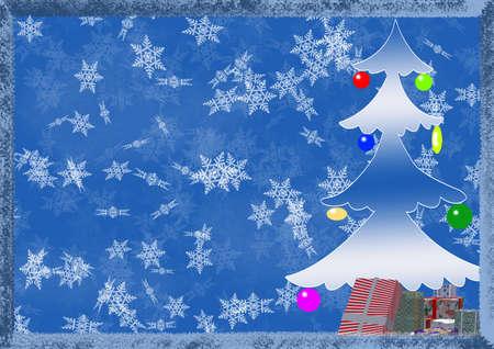 Arrière-plan sur un thème - Noël et nouvel an avec les éléments décoratifs (fool format A4)  Banque d'images - 1755408