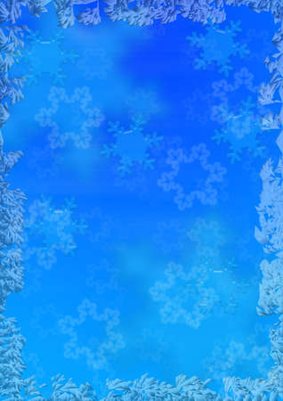 simplicity: Christmas background with an ice fringing and volumetric snowflakes