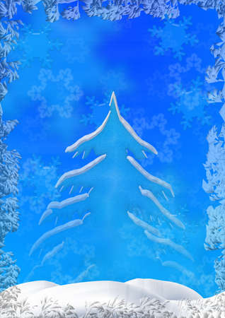 simplicity: Christmas background with an ice fringing, volumetric snowflakes, a fur-tree and snowdrift