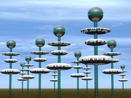 them: City of the future. Spikes with the spheres located on them - (replacing houses in our representation) Stock Photo