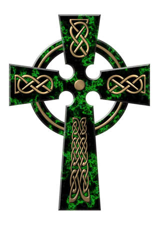 Cross from a green marble with gold incrustation photo