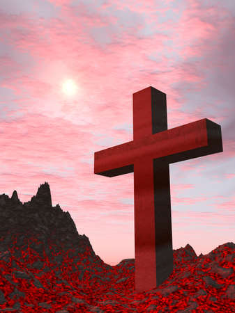 active volcano: Cross from a red stone (active volcano) located on burning ground on a background of the drama sky