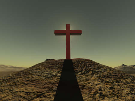 Cross on a hill from a red stone on a background of clear effective sky & light back photo