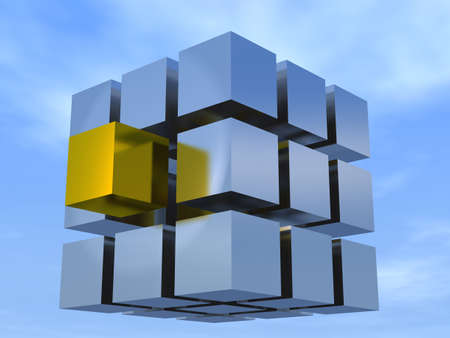 pushed: Concept of individuality on an example rubiks cube silver cubes and one gold pushed into the foreground Stock Photo