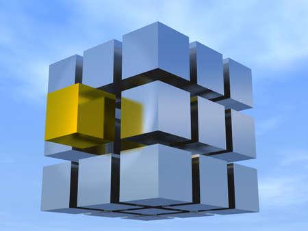 Paradoks: Pojęcie indywidualności na przykładzie Rubik's Cube srebro kostki i jeden złoty nalegaliśmy do wiedzy