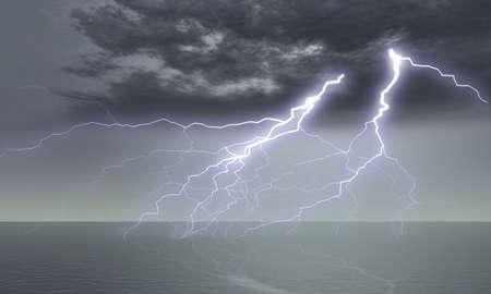 rainstorm: divine punishment (a lightning, a thunder-storm above ocean)