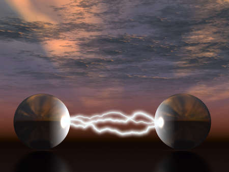 emulation: The electric lightning  between two fantastic spheres on a background of the storm sky Stock Photo