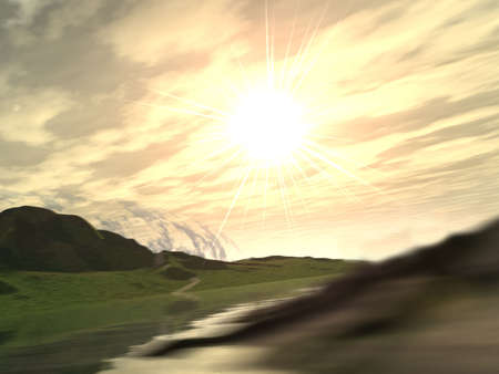 Fantastic sunset above hilly .With the abstract blur  foreground Stock Photo - 1755445