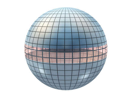 Abstract sphere (a futuristic building) - a sphere divided by equal lines and an insert from glass in the middle photo