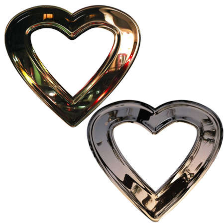 faithfulness: Set of preparations as hearts- frame(volumetric, chromeplated) Stock Photo